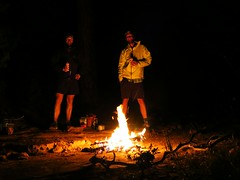 Beer, hotdogs and campfire after a long day on the trail.