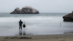 Love is a Temple... (AliTalley) Tags: ocean california beach one fisherman alone solo sutrobaths lonely solitary californiacoast