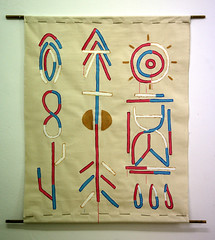"""""""script"""", acrylics and pencil on canvas, bamboo sticks, 104x131cm, 2014 (alex simopoulos) Tags: athens bamboo canvas greece futurism symbols script psychedelic animism animistic thisisopium"""