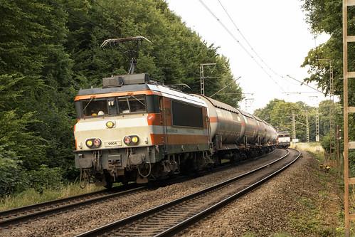Locon 9904 met ketelwagens door het Bentheimer Wald, 19 juli 2015