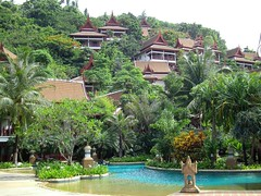 Phuket hillside resort (KENO Photography) Tags: travel family blue summer sky mountain color tree green nature water floral pool beautiful stone forest landscape thailand outside island navidad coast spring colorful day turquoise vibrant district background horizon nobody calm resort adventure business swimmingpool thai heat villa tropical hillside phuket racha