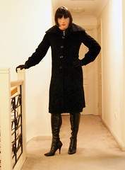 Getting It Right (5) (Furre Ausse) Tags: black leather fur boots coat skirt blouse gloves satin