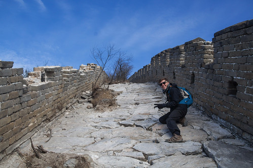 Climbing the unrestored part of the Great Wall