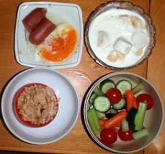 9540 breakfast: granola, veggies, yogurt with banana, poached egg, chicken wiener (Nemo's great uncle) Tags: food 食事 breakfast 朝食 newhome funabashi 船橋四丁目 setagayaku 世田谷区 tōkyō 東京 geotagged geo:lat=356550395 geo:lon=1396224368 目