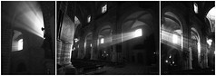 Shed in some Light - HSS! (lunaryuna) Tags: triptych cathedral architecturalinteriors sacralarchitecture lightbeams shedinsomelight creative sliderssunday hss blackwhite bw monochrome lunaryuna