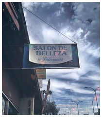 Salon de Belleza (~ Lone Wadi ~) Tags: salondebelleza sign signage hairsalon americansouthwest mainstreet business advertisement cloudy mesaarizona