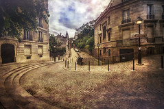 Paris, Place Dalida (Luc Mercelis) Tags: paris textureeffects minoltaprimelens24mm 20mm minoltaprimelens20mm placedalida lightroom streetphotography streetlights cityscape cityoflight citytrip france sonyslt55v