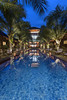 Pool by Evening look toward the restaurant - portrait (Pandu Adnyana Photography) Tags: coconut resort lombok accommodation villa private secluded peaceful serenity pool restaurant spa massage honeymoon family