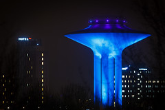 Blue Tower (Håkan Dahlström) Tags: 2017 architecture blue hotel hyllie night photography sign skåne sweden vattentorn watertower winter malmö canoneos5dmarkii f56 60sek ef200mmf28lusm cropped 318012017180840 lindeborg se