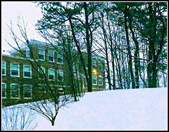 Forest & Building On Snowy Hill - Edited Winter Scene Created by STEVEN CHATEAUNEUF On January 13, 2017 - From A Photo Taken On January 7, 2017 (snc145) Tags: winter seasons hill snow sky trees building architecture photo editedimage forest chelmsford massachusetts usa january72017 january132017 stevenchateauneuf autofocus flickrunitedaward thebestshot soe townhall