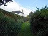 Passage behind Elizabeth Crescent, 2016 Aug 24 (Dunnock_D) Tags: uk unitedkingdom britain england chester blue sky white clouds green grass hedge meadows hedges house queenspark