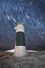 Warm Stary Night (Jerry James.) Tags: montague michigan jerry james jerryjames nightphotography stars startrails winter snow ice longexposure olympus rokinon fisheye lighthouse