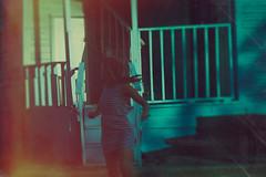 Flee (soultraveler106) Tags: house girl woman run running scared fear darkart blue stripes old oldhouse jacksonville fineart fineartphotography