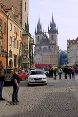 Church of Our Lady before Tn (oxfordblues84) Tags: people building clock church architecture prague praha tourists pedestrians czechrepublic oldtownsquare clocks oldtownhall westfront townhallclock vikingrivercruise churchofourladybeforetn oldtownhallclock oldtownsquareprague