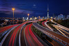 Spaghetti Junction (artjom83) Tags: road street city sunset newzealand tower night landscape island lights evening cityscape cloudy dusk north auckland rush hour nz akl nighttraffic 2015