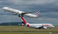 AIR FRANCE _ F-GZNI _ BOEING 777 :::::::::::: HOP  _  F-HBXH _ EMBRAER ERJ 170 [CDG] (Orekaman) Tags: plane airplane airport aircraft hop aeroport jumbojet avion airfrance cdg boeing777 lfpg embraererj170 aviondeligne grosporteur fhbxh fgzni