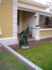 Godzilla of Unley (Light's_[di]vision) Tags: yard phil australia front ornaments adelaide weirdness kitch bagust