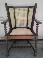 Antique Wing Back Press Caned Chiar ~ circa lat 1800's (BrandyVSOP) Tags: reed cane oregon portland back chair hand furniture antique rustic wing bamboo couch repair seats rush danish loveseat woven wicker weave rattan splint tigard hickory pres wingback caning recane recaned brandyvsop hickorysplint fiberrush antiquewicker prewoven smachine acaneandwickerfixercom