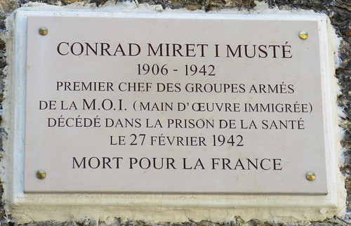 Conrad Miret I Musté plaque - Boulevard Arago at rue Messier, Paris 14th arr