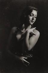 Jessica Noir (SkylerBrown) Tags: blackandwhite woman sexy girl beautiful fashion blackwhite glamour pretty antique gorgeous 1940 brunette cleavage oldfashioned jessicamendoza