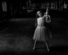 Broken Dolls - DSC01064 (cleansurf2 - Portrait portfolio) Tags: brokendolls girl portrait people pretty performer dark dance bw black white urbex creepy weird cute drama decay demented derelict disturbed