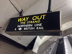 Way out sign at Charing Cross Jubilee line escalators (David Jones) Tags: hiddenlondon londontransportmuseum charingcross londonunderground station wayout thestrand northernline britishrail sign