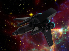 Blackthorn 1 (EliteGuard01) Tags: blackthorn1 smugglers lego legodigitaldesigner ldd photoshop pirateslaststand pirateship venompirates venomorbitalshipyards miniship black space spaceship nebula