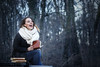 Dans son monde (marine.benchao) Tags: women girl smile wood shooting laught livre book night story elisa modele modèle canon eos 80d 50mm world