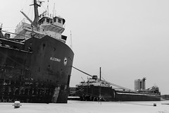 Apposition (Bert CR) Tags: 40d lakers appose apposition harbor greatlakes freighter ship greatlakesfreighter blackandwhite bw blackwhite monochrome winter ice icyharbor big looming hull large perspectives opportunities skancheli