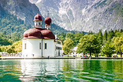 St Bartholomew's Church (CJ Luck) Tags: alps berchtesgaden cj europe european germany konigssee mountain mountainpeak mountainscape outdoor stbartholomewschurch trees water architecture basin bright building church cjluck glaring glorious green highlands humandevelop lake lakeside lanscape natural nature overlook overview red reflection scenery scenic tourism view viewpoint waterscape waterside