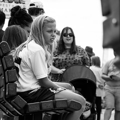 """Huh?"" (dharder9475) Tags: 2016 bw bench blackandwhite candid child girl minnesotastatefair privpublic shallowdepthoffield sitting square staring streetphotography younggirls younglady"