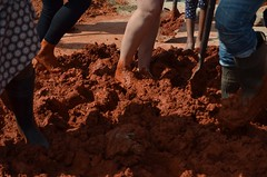Making the earth brick mix, Gone Rural BoMake, March 2015