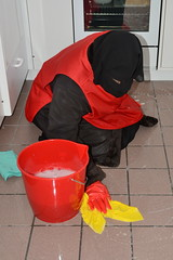 Slave cleaning maid (Buses,Trains and Fetish) Tags: girl warm coat cleaning apron niqab maid slave burka chador
