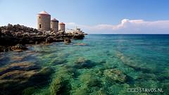 Rhodes windmills (stavos) Tags: ocean sea holiday canon island rocks wideangle windmills greece rhodes dodecanese 550d stavosnl