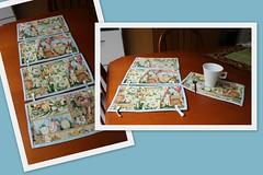 Mug Rugs (ceciliamezzomo) Tags: blue bunny coffee azul easter de tea handmade pscoa fabric american mug rug patchwork coelho joann xcara descanso tecido coelhinho importado tecidinho importadinho