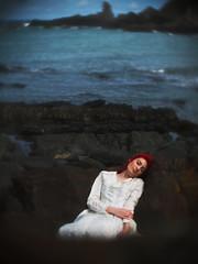 Sleeping Beauty (i-r-paulus) Tags: sea outside lumix coast model rocks waves dreaming redhead devon shore snooze coastline dreamy asleep weddingdress redhair seashore westcountry hartland northdevon hazza hartlandquay microfourthirds cctvlens hartlanddevon lumixg2