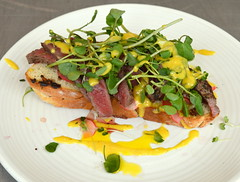 Pan Fried Rump Steak on Charred Loaf with Dressing (Tony Worrall) Tags: uk england food make menu yummy nice dish photos tag cook tasty plate eaten things images x meat made eat foodporn add steak meal taste dishes cooked tasted grub iatethis foodie flavour plated foodpictures ingrediants picturesoffood photograff foodophile ©2015tonyworrall
