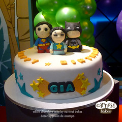 Gia and her Superfriends (starshuffler) Tags: birthday cake stars dessert dc sweet chocolate superman sugar superhero batman custom superfriends fondant earnest gumpaste earnestbakes