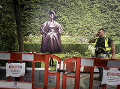 Dangerous Garden (stevedexteruk) Tags: uk london mobile danger construction phone billboard signage barrier worker talking chatting mayfair dior workman 2015