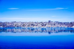 Winter Pond ((Jessica)) Tags: boston newengland winter massachusetts jamaicapond white landscape trees clean blue minimalist simple frozen nature clear waterscape emeraldnecklace minimal winterstormlexi ice snow pond reflection water