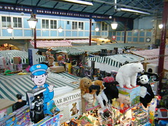 Durham - indoor market (rossendale2016) Tags: lighting away take down sit crisps milk cakes assorted sandwiches meals bacon buns tea coffee frame building structure roof girders framed wrought metal iron indoor market england uk durham polar bear panda dogs toy everything sale sold colourful picturesque photogenic striped animals canvas wooden boards shopfitter workers soft blue yellow green red multicoloured exquisite victorian style immaculate unusual relic past fashioned old pictured clean well kept area small tidy cluttered tight narrow aisles between