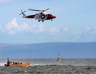 Porthcawl Lifeboat with Coastguard Helicopter 187
