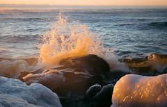 2017 Day 21 (Travis Anderson 30) Tags: wave splash sunrise orange superior lakesuperior northcoast minnesota lake ice 365 project365