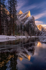 Brothers in Arms (Darkness of Light) Tags: yosemite national park merced river three brothers upper lower eagle peak valley view ice snow long exposure hitech formatt firecrest winter horsetailfalls elcapitan cathedralbeach halfdome half dome