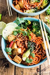 Sesame Ginger Carrot (alaridesign) Tags: sesame ginger carrot noodle stir fry with bok choy crispy tofu