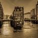 Hamburg, Speicherstadt  - Blick von der Poggenmühlenbrücke bei ablaufenden Wasser (Analogaufnahme
