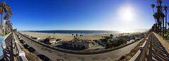 Santa Monica Beach Panorama (Marc H. Fotografie) Tags: california santa blue summer sky panorama usa sun beach landscape photography la los reisen angle state angeles pano wide fisheye monica landschaft reise clours