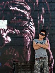 Damien Mitchell and His Art (Eddie C3) Tags: newyorkcity streetart art graffiti graffitiartist astoriaqueens damienmitchell wellingcourt wellingcourtmuralproject 6thannualwellingcourtmuralproject
