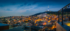 Sunset at N Seoul Tower (KOLYO_99) Tags: road street old travel sunset color history rooftop me canon landscape fun asia raw cityscape photographer village outdoor korea korean seoul saudi area daytime khalid  namsan     14mm     samyang  tamron2470  rokinon
