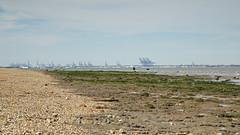Looking towards Felixstowe (Future-Echoes) Tags: sea beach water coast cranes essex felixstowe 2015 waltononthenaze